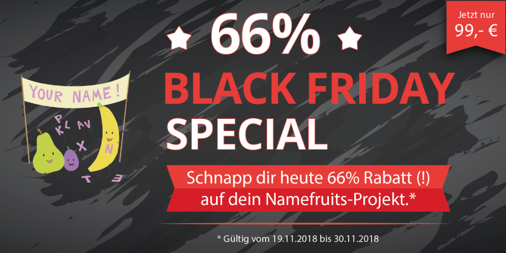Black Friday Deal für Namefruits